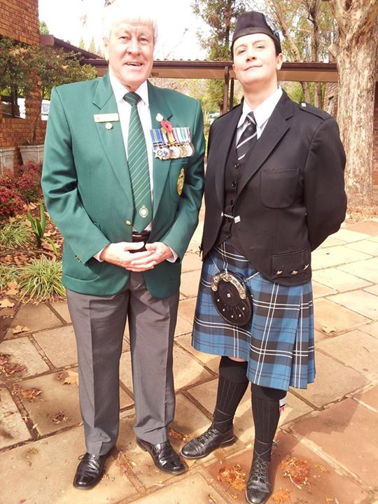Today 24 July 2015 at the funeral service of the Late Legionnaire Malcolm Kriel I was most surprised when the piper was none other than Linda (nee Scorgie) who was a junior piper in the Kimberley Regimental Pipes and Drums when I was the Drum Major in the late 1970's and early 1980's. Last saw her in 1982 when I left to join the South African Navy. Well done Linda!!